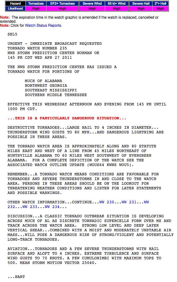 Tornado Watch PDS Summary Details April 27 2011