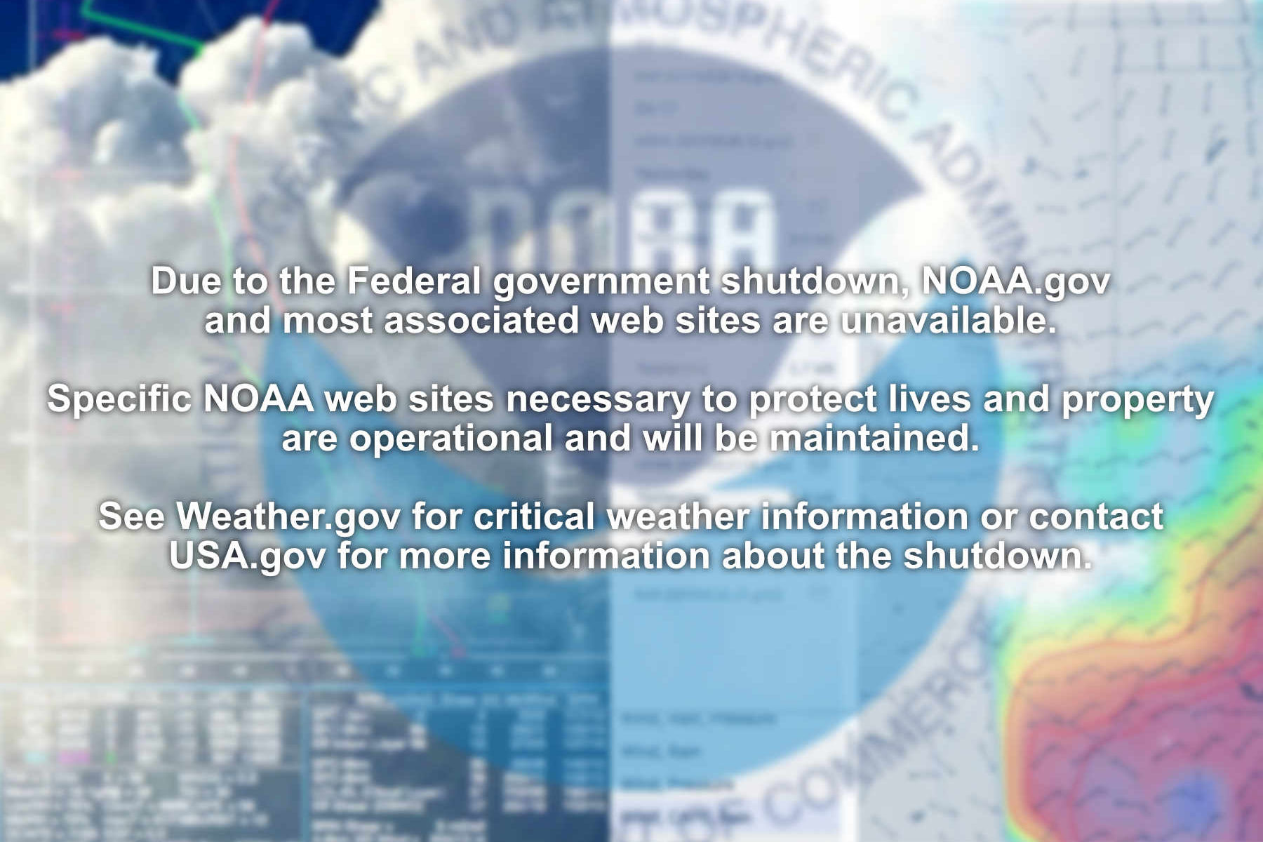 NOAA Shutdown - Government shutdown message on noaa.govs website
