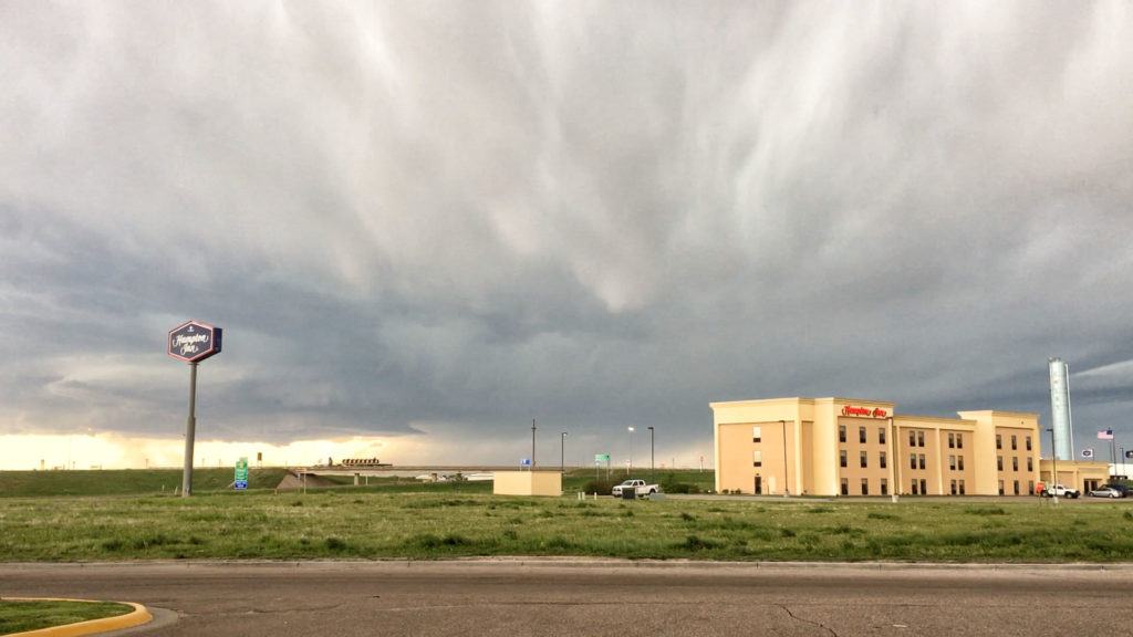 Hotel front, approaching supercell - Colby, KS - © TsWISsTER