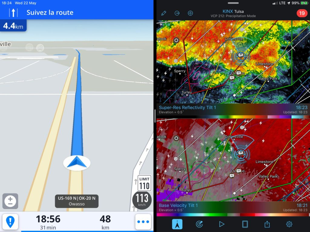 Radar view - Collinsville, OK - 20190522-1824Z